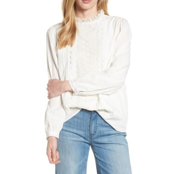 Halogen Tops - Halogen Long Sleeve Lace Front Blouse
